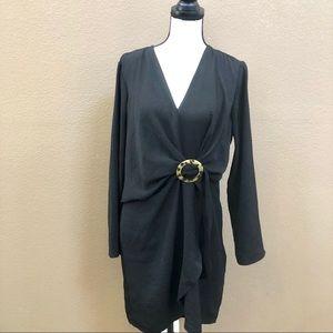 Topshop Black Dress Faux Wrap D Ring Belt Sz US12